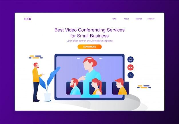 Conceito de ilustração de videoconferência móvel para site ou página de destino Vetor Premium
