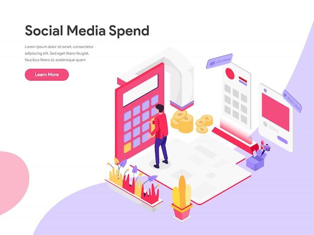 Conceito de ilustração isométrica de custo de marketing digital Vetor Premium