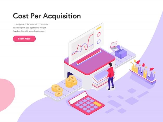 Conceito de ilustração isométrica de custo por aquisição Vetor Premium