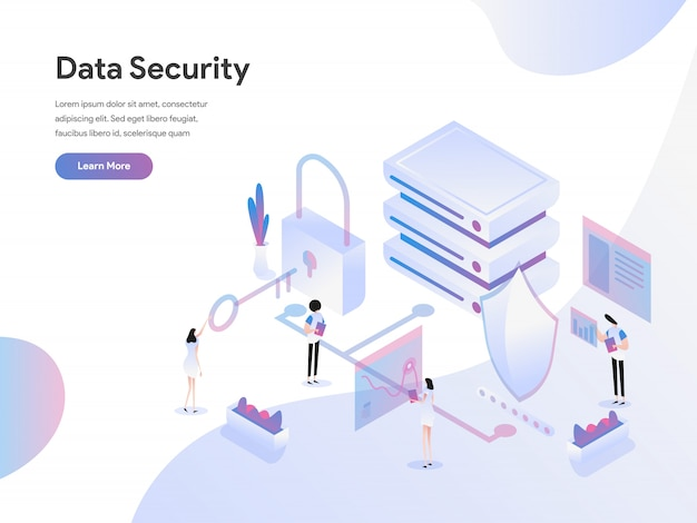 Conceito de ilustração isométrica de segurança de dados Vetor Premium