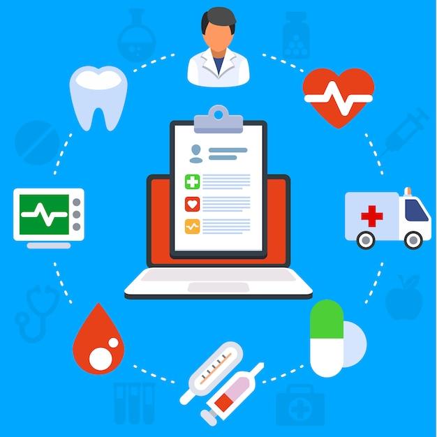 Conceito de ilustração plana de serviços médicos. laptop com prancheta médica. ícones criativos planas definir elementos para banners web, sites, infográficos. Vetor Premium