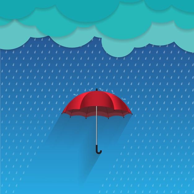 Conceito de ilustração vetorial 3d proteger a chuva por guarda-chuva Vetor Premium