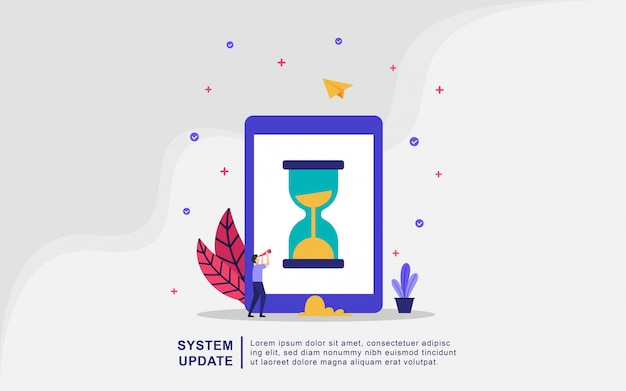 Conceito de ilustração vetorial atualização do sistema, as pessoas atualizam o sistema operacional. Vetor Premium