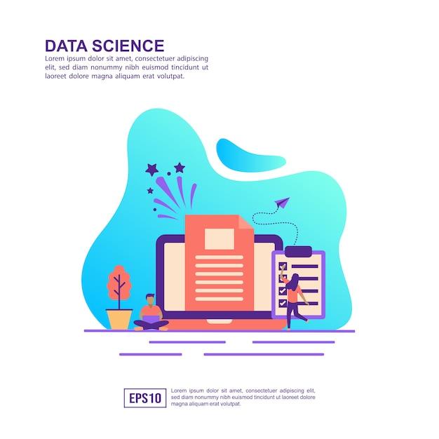 Conceito de ilustração vetorial de ciência de dados Vetor Premium