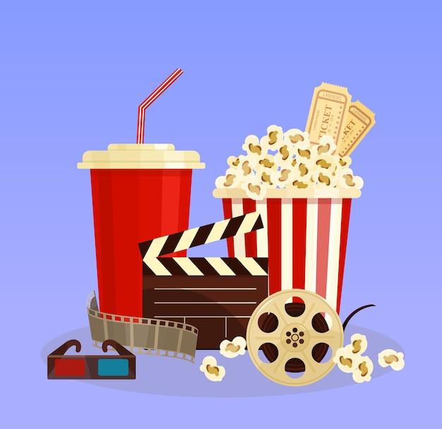 Conceito de ilustração vetorial de cinema. pipoca, óculos 3d e cinematografia de tira de filme Vetor Premium