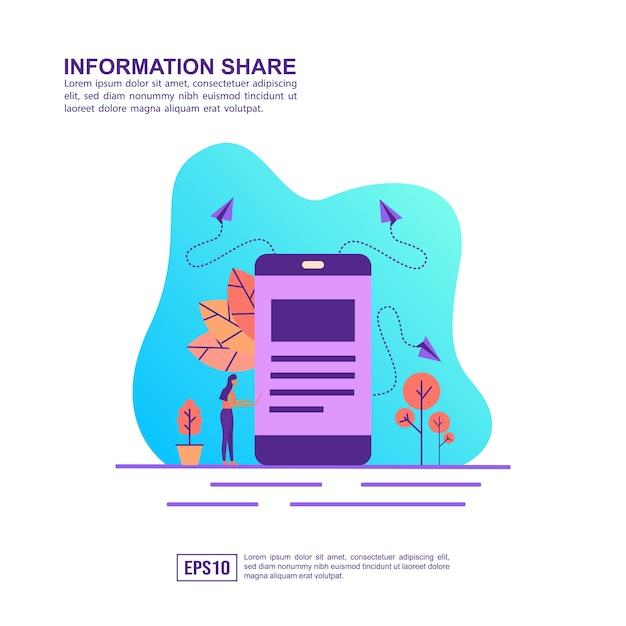 Conceito de ilustração vetorial de compartilhamento de informações Vetor Premium