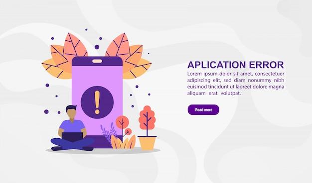 Conceito de ilustração vetorial de erro de aplicação. ilustração moderna conceitual para o modelo de banner Vetor Premium