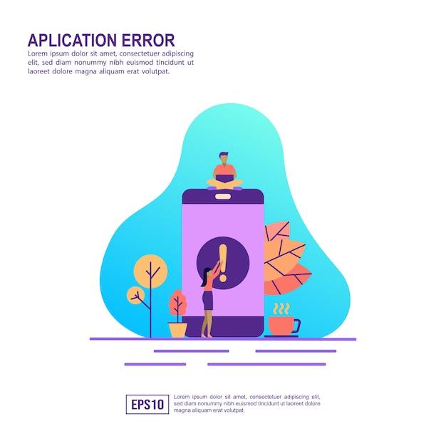 Conceito de ilustração vetorial de erro de aplicativo Vetor Premium