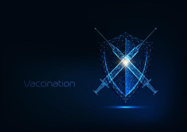 Conceito de imunização futurista com seringa poligonal baixa de brilho com escudo de vacina e proteção Vetor Premium