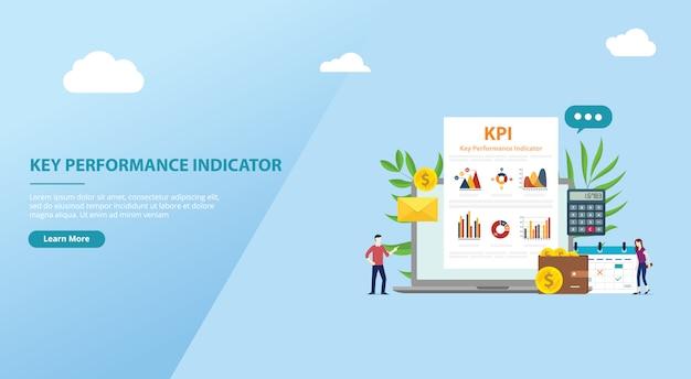 Conceito de indicador de desempenho chave kpi Vetor Premium