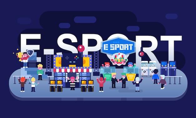 Conceito de indústria de esports, festival de jogos, jogador profissional, jogador. negócio de jogo de ilustração vetorial plana Vetor Premium