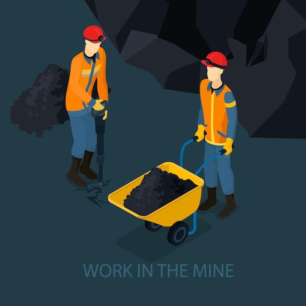 Conceito de indústria de mina isométrica Vetor grátis
