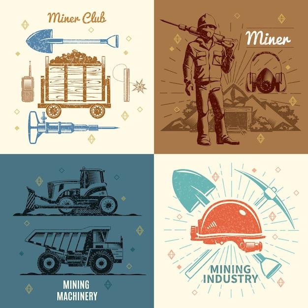 Conceito de indústria de mineração Vetor Premium