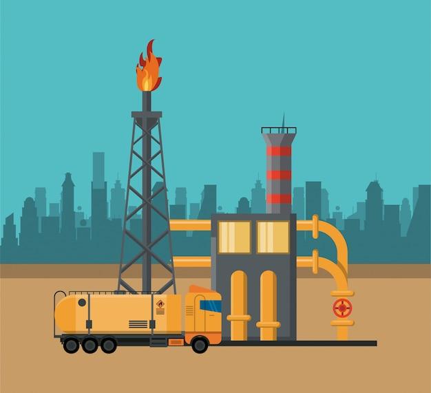Conceito de indústria de petróleo Vetor Premium