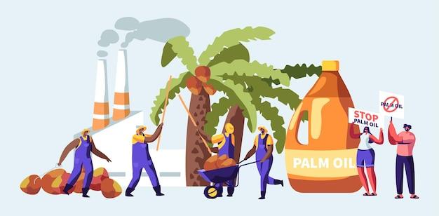 Conceito de indústria de produção de óleo de palma com trabalhadores coletando frutas, fábrica de processamento com tubos que emitem fumaça, emissão de gás poluente, manifestantes com bandeiras de parada. ilustração em vetor plana dos desenhos animados Vetor Premium