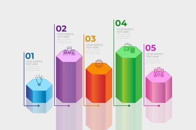 Conceito de infográfico de barras 3d Vetor grátis