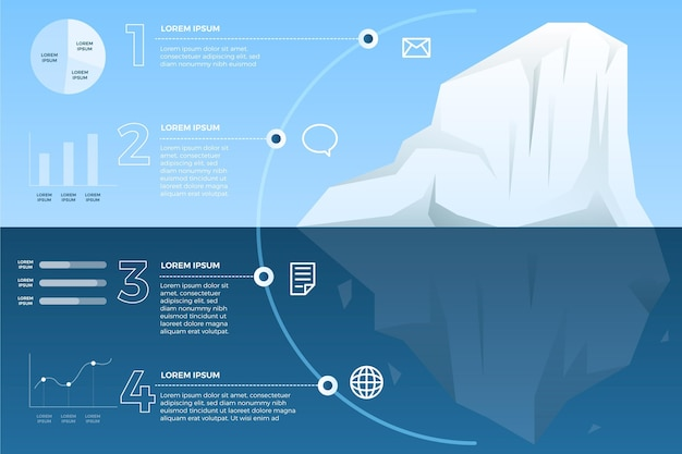 Conceito de infográfico de iceberg Vetor grátis