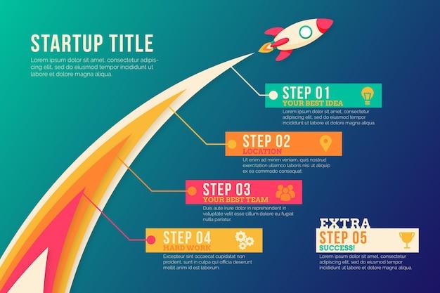 Conceito de infográfico de inicialização Vetor Premium