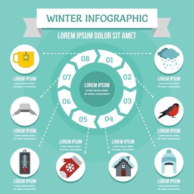 Conceito de infográfico de inverno, estilo simples Vetor Premium