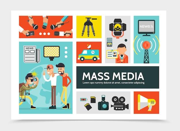 Conceito de infográfico de mídia de massa plana com jornal de câmeras de megafone de torre de rádio de carro de notícias Vetor grátis