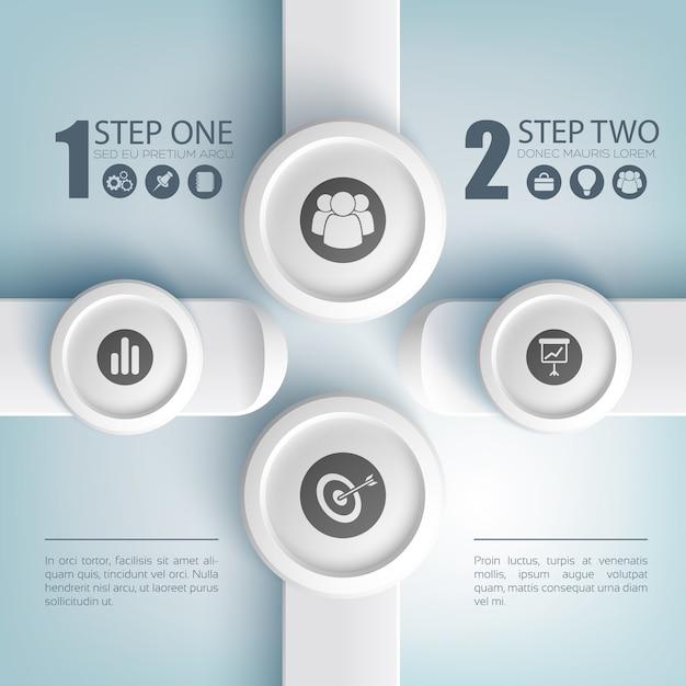 Conceito de infográfico de negócios abstrato com ícones de duas opções de texto em botões redondos e retângulos cinza Vetor grátis