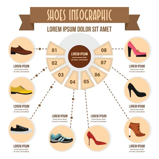 Conceito de infográfico de sapatos, estilo simples Vetor Premium