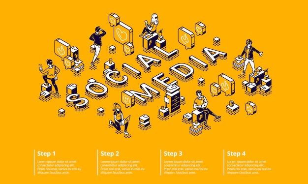 Conceito de infográfico isométrico de mídia social com pequenos personagens usando gadgets, trabalhando no computador Vetor grátis