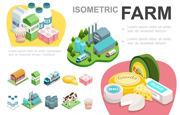 Conceito de infográfico isométrico indústria de laticínios com queijo de fábrica creme de leite leite iogurte vaca kefir Vetor grátis