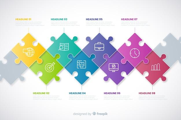 Conceito de infográfico timeline com peças do puzzle Vetor grátis