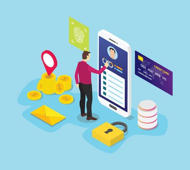 Conceito de informações de dados pessoais com pessoas de homens acessam dados com símbolo de ícone de sinal de privacidade de segurança Vetor Premium