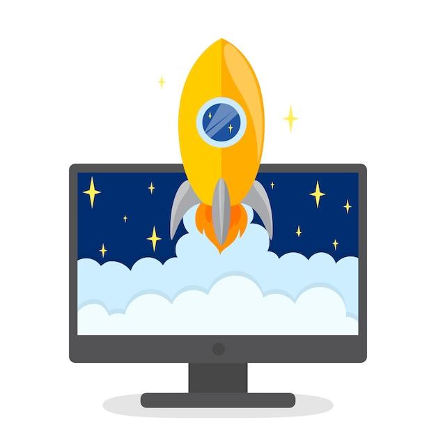 Conceito de inicialização. desenvolvimento de negócios. idéia de teste e marketing. pensamento criativo. ilustração Vetor Premium