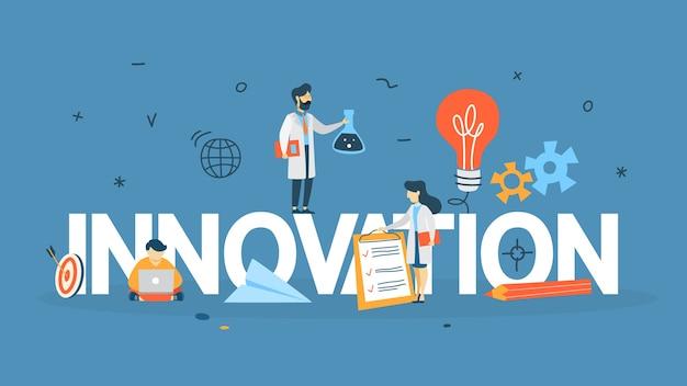 Conceito de inovação. ideia de tecnologia inovadora. mente criativa. lâmpada como metáfora da ideia. ilustração de linha Vetor Premium