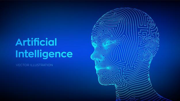 Conceito de inteligência artificial. ai cérebro digital. rosto humano digital abstrato. cabeça humana em interpretação de computador digital robô Vetor Premium