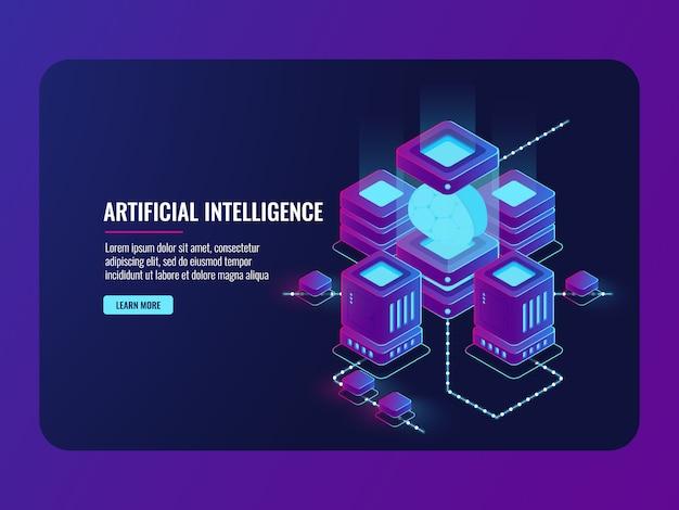 Conceito de inteligência artificial, sala de servidores, processamento de big data, cérebro na incubadora Vetor grátis