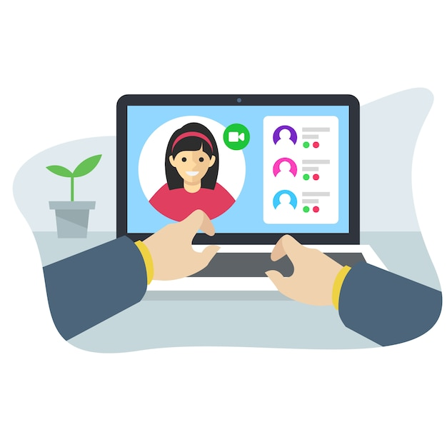 Conceito de interface de aplicativo de conferência on-line Vetor Premium