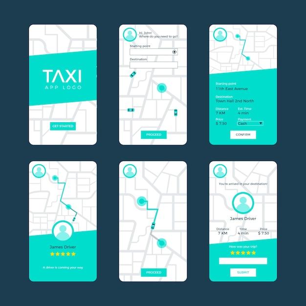 Conceito de interface de aplicativo de táxi Vetor grátis
