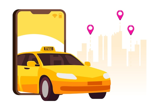 Conceito de interface de aplicativo de táxi Vetor Premium