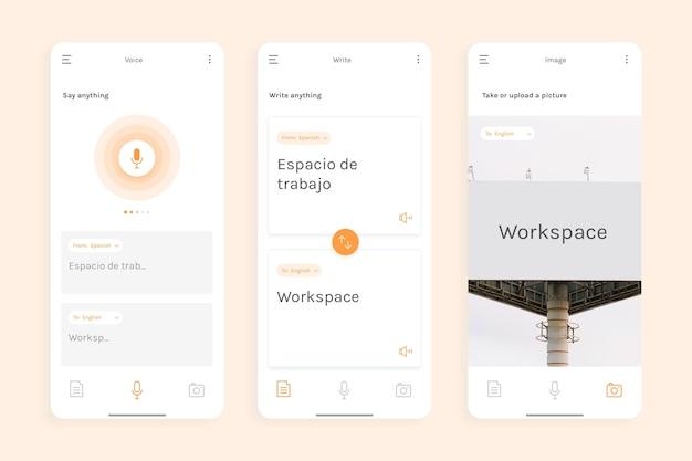Conceito de interface do aplicativo tradutor Vetor grátis