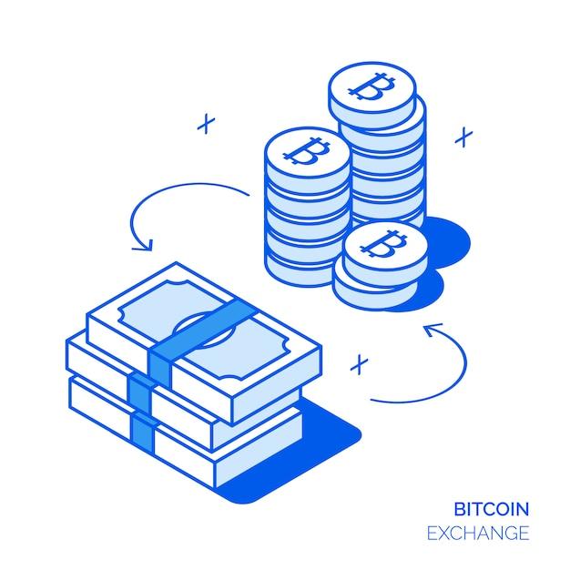 Conceito de investimento de bitcoin isométrica Vetor Premium