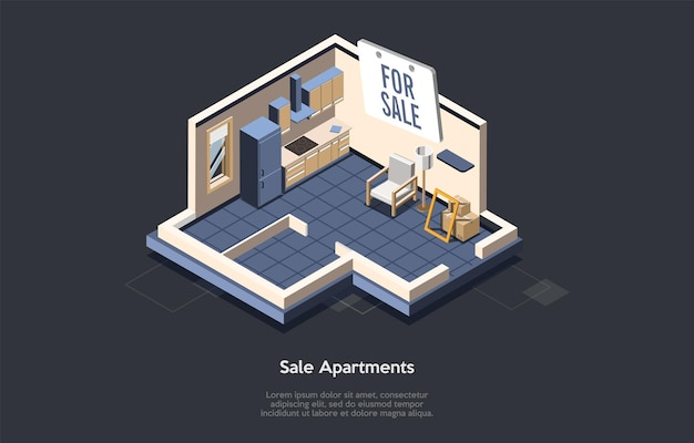 Conceito de investimento imobiliário, venda e compra de casa nova. Vetor Premium