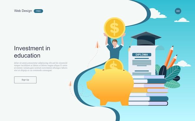 Conceito de investimento para a aprendizagem on-line de educação, treinamento e cursos. Vetor Premium