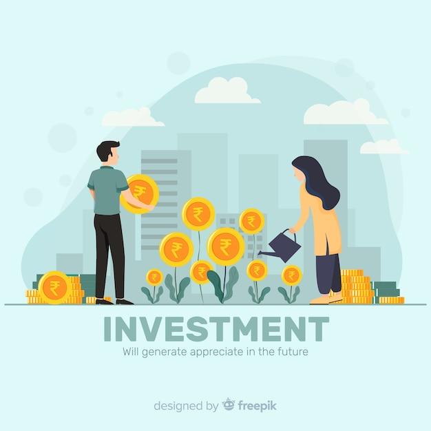 Conceito de investimento rupia indiana Vetor grátis