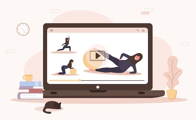 Conceito de ioga e esporte em casa on-line. fazendo exercícios com um aplicativo móvel. mantenha-se saudável e em forma durante a epidemia e quarentena. ilustração da mulher árabe no hijab ensinando ioga via internet. Vetor Premium
