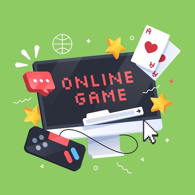 Conceito de jogos online Vetor grátis
