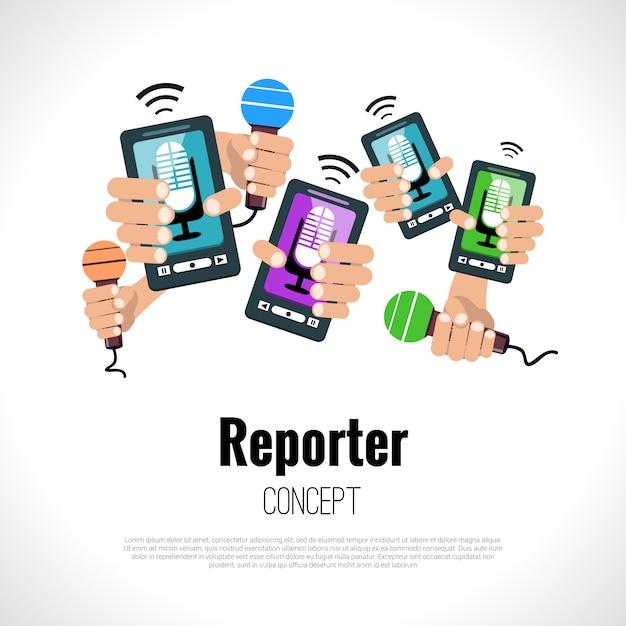 Conceito de jornalista repórter Vetor Premium