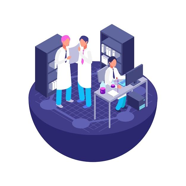 Conceito de laboratório isométrico 3d. vetor de medicina, química e farmácia isolado no branco Vetor Premium
