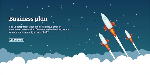 Conceito de lançamento de plano de negócios, estilo cartoon Vetor Premium