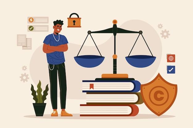 Conceito de lei de patentes com homem e balança Vetor grátis