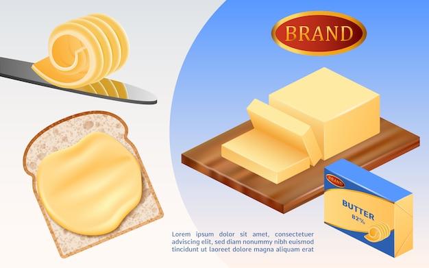 Conceito de leite manteiga Vetor Premium