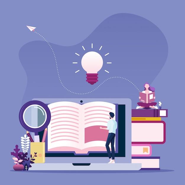 Conceito de leitura on-line. homem negócios, livro leitura, online Vetor Premium